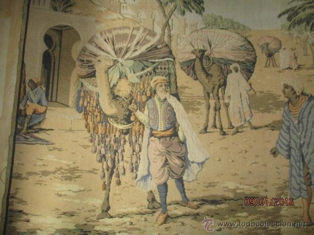 Antigüedades: PRECIOSO GRAN TAPIZ CON ESCENA ÁRABE - 175 cm x 125 cm - Foto 4 - 53707724