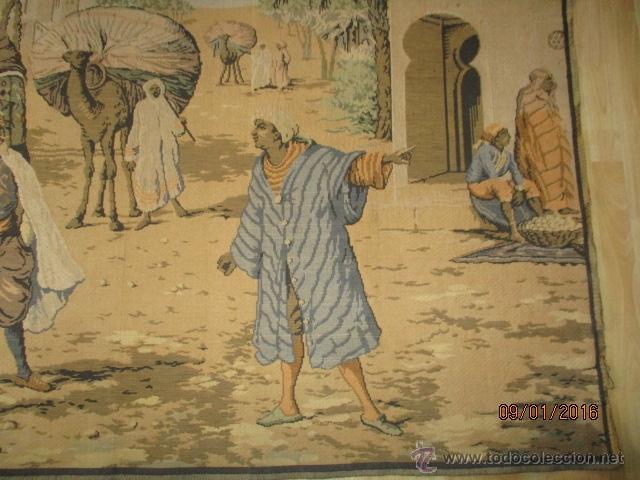 Antigüedades: PRECIOSO GRAN TAPIZ CON ESCENA ÁRABE - 175 cm x 125 cm - Foto 5 - 53707724
