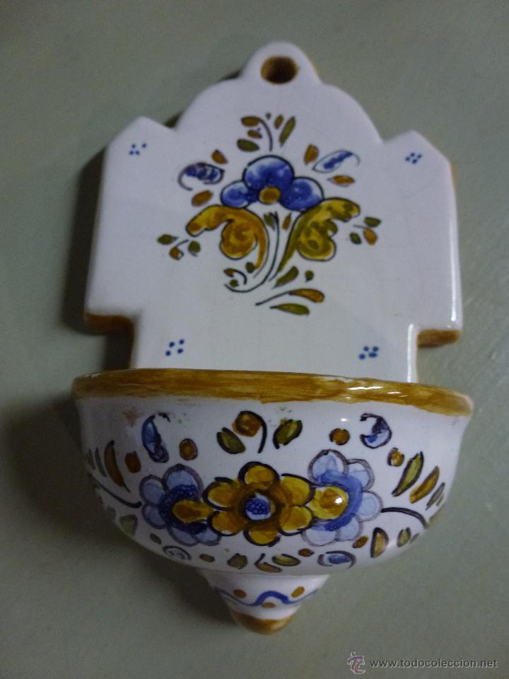 PIQUETA, BENDITERA, CERAMICA DE TALAVERA. (Antigüedades - Porcelanas y Cerámicas - Talavera)