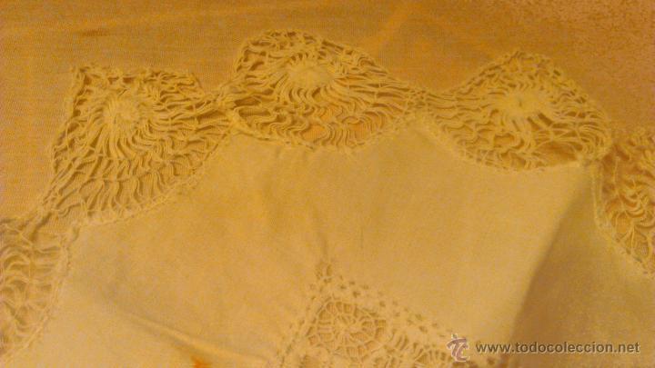 Antigüedades: Antiguo tapete de algodón y bolillos. - Foto 4 - 53709888