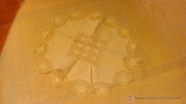 Antigüedades: Antiguo tapete de algodón y bolillos. - Foto 7 - 53709888