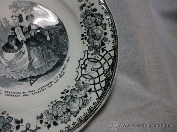 Antigüedades: PLATO DE PORCELANA FRANCES DECORADO CON PERSONAJES FIRMADO GREIS ET MONTEREAU - Foto 3 - 53720020