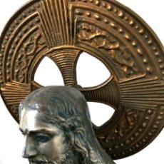 Antigüedades: IMAGEN RELIGIOSA SAGRADO CORAZÓN DE JESÚS EN VOS CONFÍO. METAL Y BASE DE MARMOL. Lote 53725500
