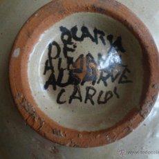Antigüedades: ANTIGUO PLATO CERACICO PINTADO A MANO ALGARVE CARLOS . 11.4 CM DIAMETRO. Lote 53728296