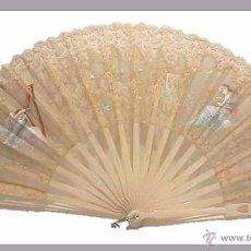 Antigüedades: ANTIGUO ABANICO VARILLAJE EN HUESO Y MARFIL PAIS EN ORGANDI ENCAJE BRUSELAS DECORADO A MANO- S.XIX. Lote 50251124