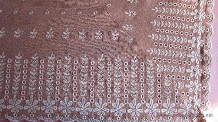 Antigüedades: Antigua cortina de hilo color teja bordada - Foto 4 - 95192143