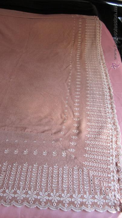 Antigüedades: Antigua cortina de hilo color teja bordada - Foto 5 - 95192143