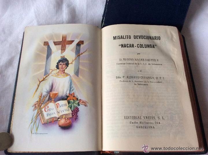 MISALITO-DEVOCIONARIO NACAR-COLUNGA. COMPUESTO POR UN EQUIPO DE LITURGISTAS A BASE DE TEXTOS (Antigüedades - Religiosas - Artículos Religiosos para Liturgias Antiguas)