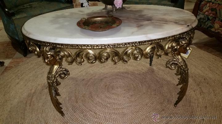 Mesa de centro en bronce y marmol comprar mesas antiguas for Mesas antiguas de madera