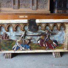 Antigüedades: ARCA, ARCÓN, CAJA. TALLA EN MADERA MACIZA.. Lote 53806816