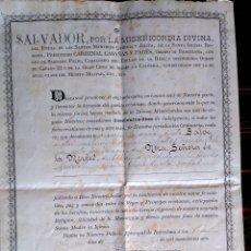 Antigüedades: DOCUMENTO RELIGIOSO FIRMADO POR EL OBISPO DE BARCELONA SALVADOR CASAÑAS Y PAGES,AÑO 1906,UNICO. Lote 53809030