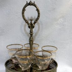 Antigüedades: SIGLO XIX O ANTERIOR. SERVICIO DE MESA EN METAL, MARCADO, Y CINCO COPAS EN CRISTAL.. Lote 29778895