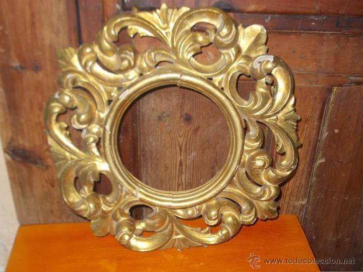 Bonito y antiguo marco redondo de madera tallad comprar - Pintura color oro ...