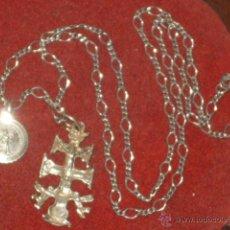 Antigüedades: CADENA Y CRUZ DE CARAVACA DE PLATA.. Lote 53840324