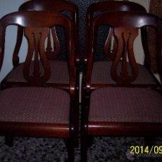 Antigüedades: PRECIOSO LOTE DE 4 SILLAS ANTIGUAS EN CAOBA RUBIA DE CUBA.. Lote 53844083