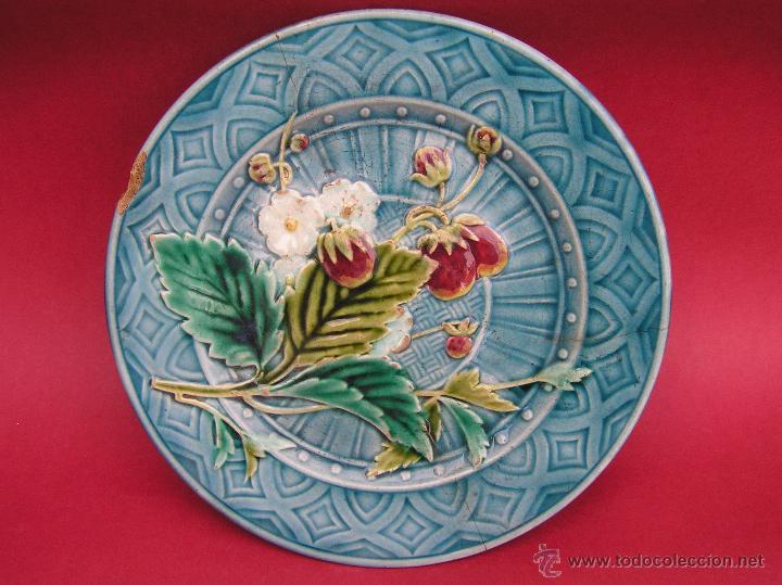 PLATO POSTRE SARREGUEMINES . S. XIX (1865-1880 ) SELLADO EN BASE.20 CM DIÁMETRO. (Antigüedades - Porcelana y Cerámica - Francesa - Limoges)