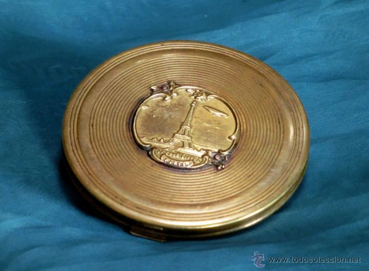 Antigüedades: ANTIGUA Y ORIGINAL POLVERA MODERNISTA - PARÍS - METAL - LA TORRE EIFFEL - COLECCIÓN - ART NOUVEAU - Foto 2 - 53846517