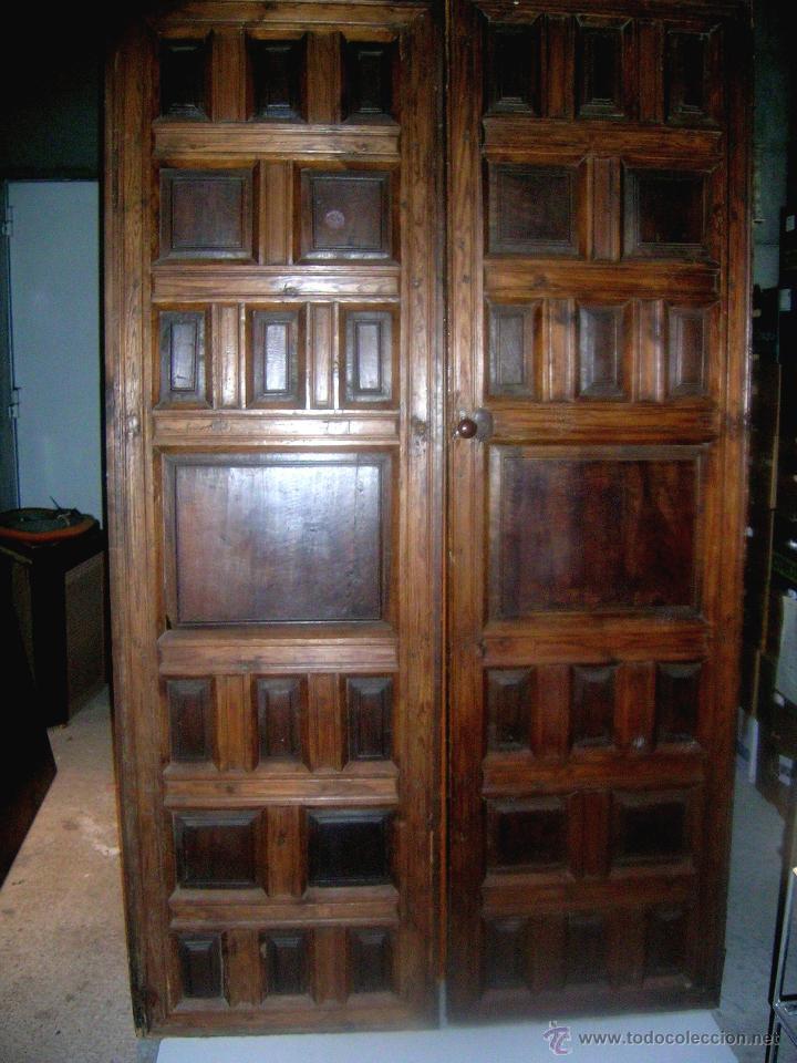 Puerta 2 hojas nogal y tea antigua s finales comprar for Herrajes muebles antiguos