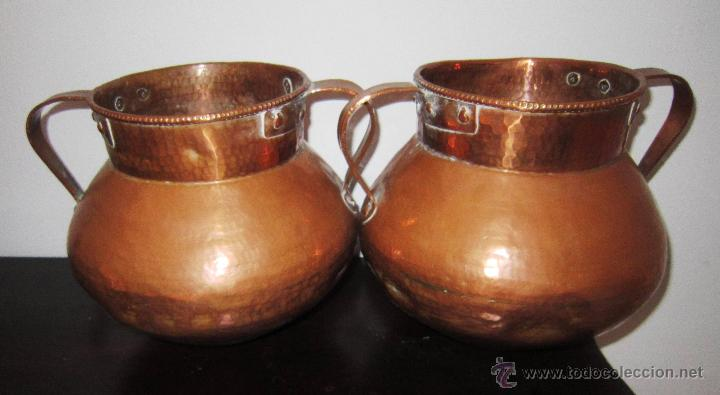 Pareja de calderos antiguos de cobre comprar utensilios del hogar antiguos en todocoleccion - Objetos fabricados con cobre ...