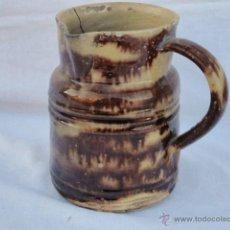 Antigüedades: ANTIGUA JARRA DE CERÁMICA CATALANA VIDRIADO JASPEADO.. Lote 53866346