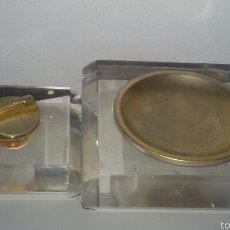 Antigüedades: ANTIGUO MECHERO Y CENIZERO EN METRAQUILATO. Lote 53872955