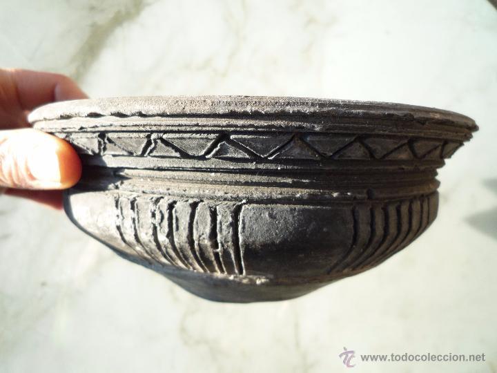 Antigüedades: CUENCO BOL TERRACOTA Terrissa CERÁMICA NEGRA CATALANA / Sello AMPHORA GERONA ESPAÑA años '40 - '50 - Foto 3 - 53880663