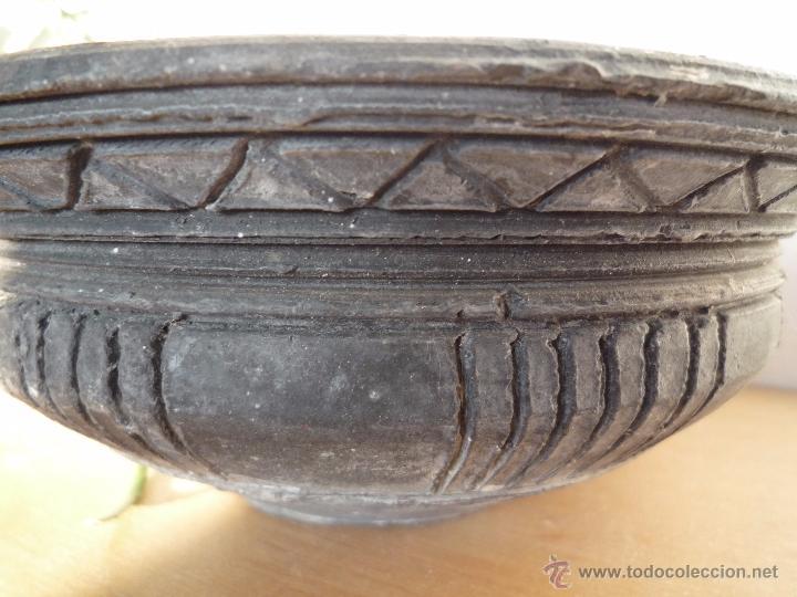 Antigüedades: CUENCO BOL TERRACOTA Terrissa CERÁMICA NEGRA CATALANA / Sello AMPHORA GERONA ESPAÑA años '40 - '50 - Foto 13 - 53880663