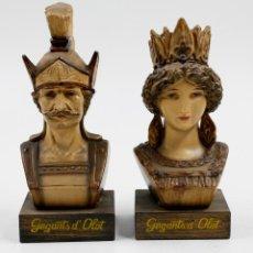 Antigüedades: DOS FIGURAS DE ESTUCO DE LOS GEGANTS DE OLOT 17 CM ALTO . Lote 53884724