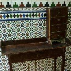 Antigüedades: ESCRITORIO CON PEQUEÑA CAJONERA. Lote 53885699