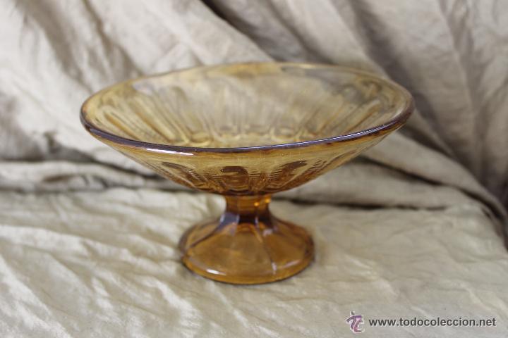 ANTIGUO FRUTERO EN COLOR MARRÓN PRENSADO CRISTAL SANTA LUCIA CARTAGENA (Antigüedades - Cristal y Vidrio - Santa Lucía de Cartagena)
