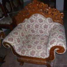 Antigüedades: SILLÓN TALLADO DE BALI. Lote 53902782