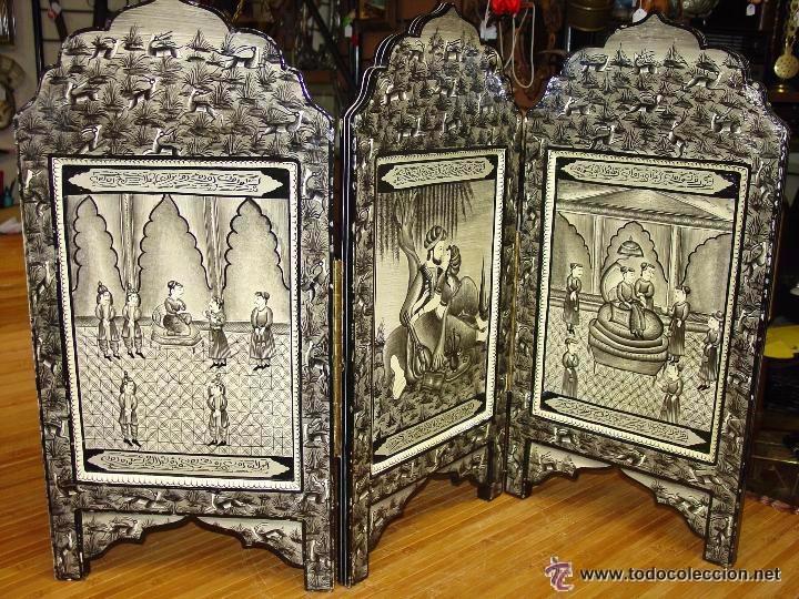 Peque o y antiguo biombo de tres paneles con mo comprar muebles auxiliares antiguos en - Biombos chinos antiguos ...