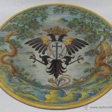 Antigüedades: PLATO DE TALAVERA CON ESCUDO DE AGUILA BICEFALA Y EMBLEMA DE LA SANTA INQUISICION, POR RUIZ DE LUNA,. Lote 53974559