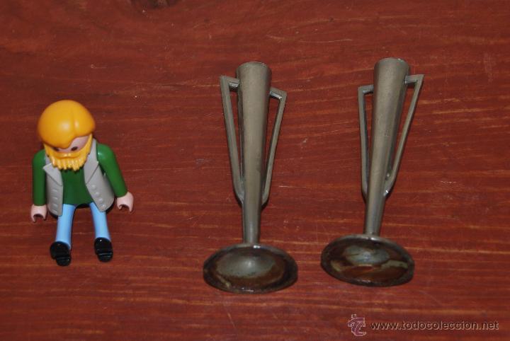 Antigüedades: PAREJA JARRONES DE ESTAÑO - FLOREROS - VIOLETEROS - JARRÓN - FLORERO - VIOLETERO - ART DECO AÑOS 20 - Foto 5 - 53981605