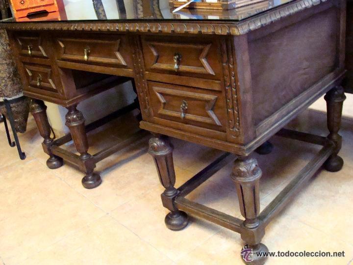 Antigua mesa de despacho o escritorio tallada e comprar - Mesas de escritorio antiguas ...