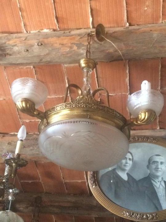 Antigua l mpara de techo para comedor de lat n comprar - Lamparas cristal antiguas ...