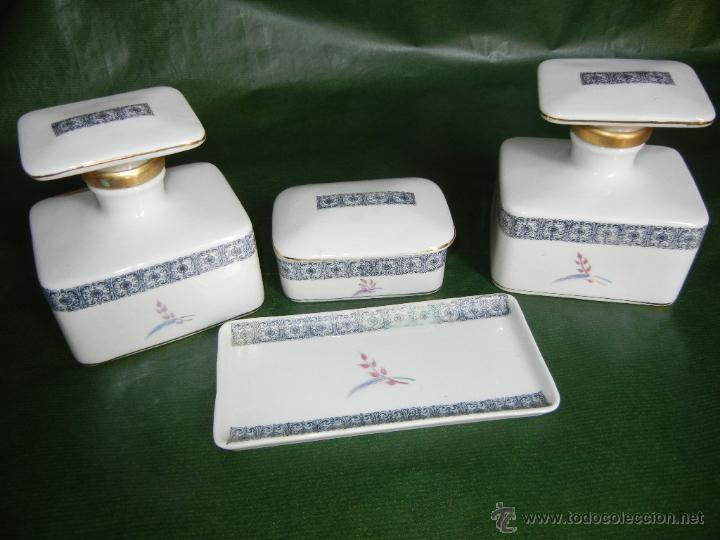 ANTIGUO JUEGO TOCADOR PORCELANA 4 PÌEZAS (Antigüedades - Porcelanas y Cerámicas - Otras)