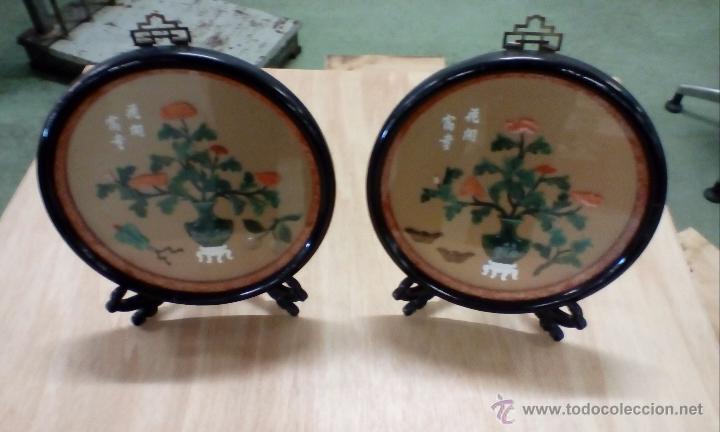 PAREJA DE PLACAS CHINAS MUY DECORATIVAS (Antigüedades - Porcelanas y Cerámicas - China)