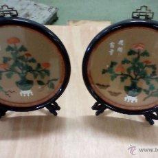 Antigüedades: PAREJA DE PLACAS CHINAS MUY DECORATIVAS. Lote 53991437