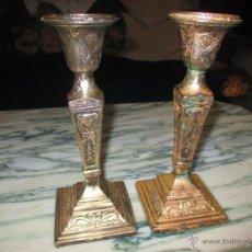 Antigüedades: A NTIGUOS VELEROS DE IGLESIA METAL PLATEADO. Lote 53992121
