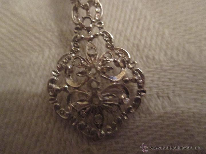 Antigüedades: pendientes isabelinos plata de ley con diamantes talla rosa y amatistas - Foto 2 - 53995659