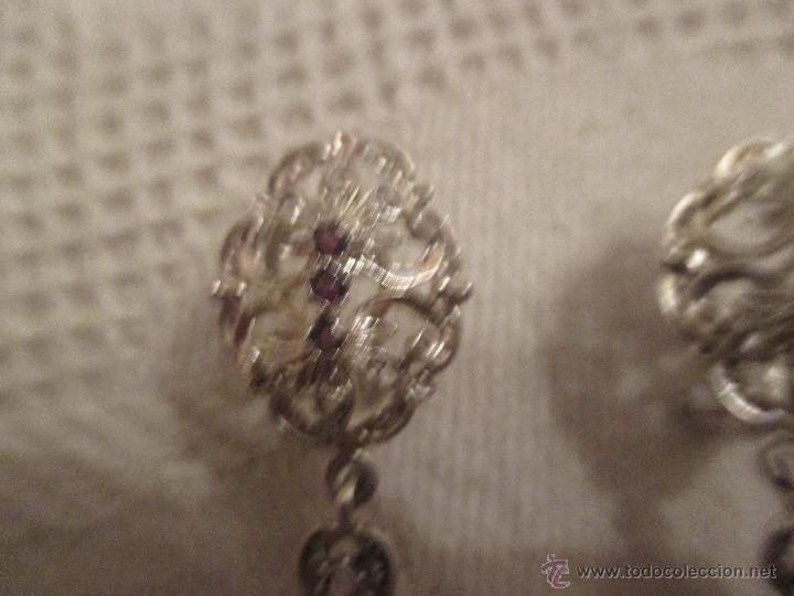 Antigüedades: pendientes isabelinos plata de ley con diamantes talla rosa y amatistas - Foto 3 - 53995659