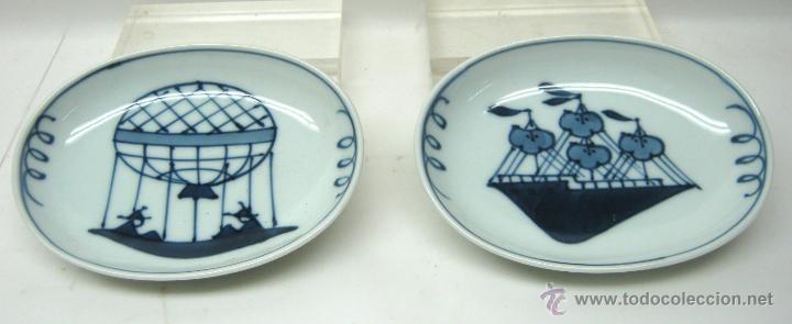 ANTIGUA PAREJA DE BANDEJAS PORCELANA JAPÓN S. XIX (Antigüedades - Porcelana y Cerámica - Japón)