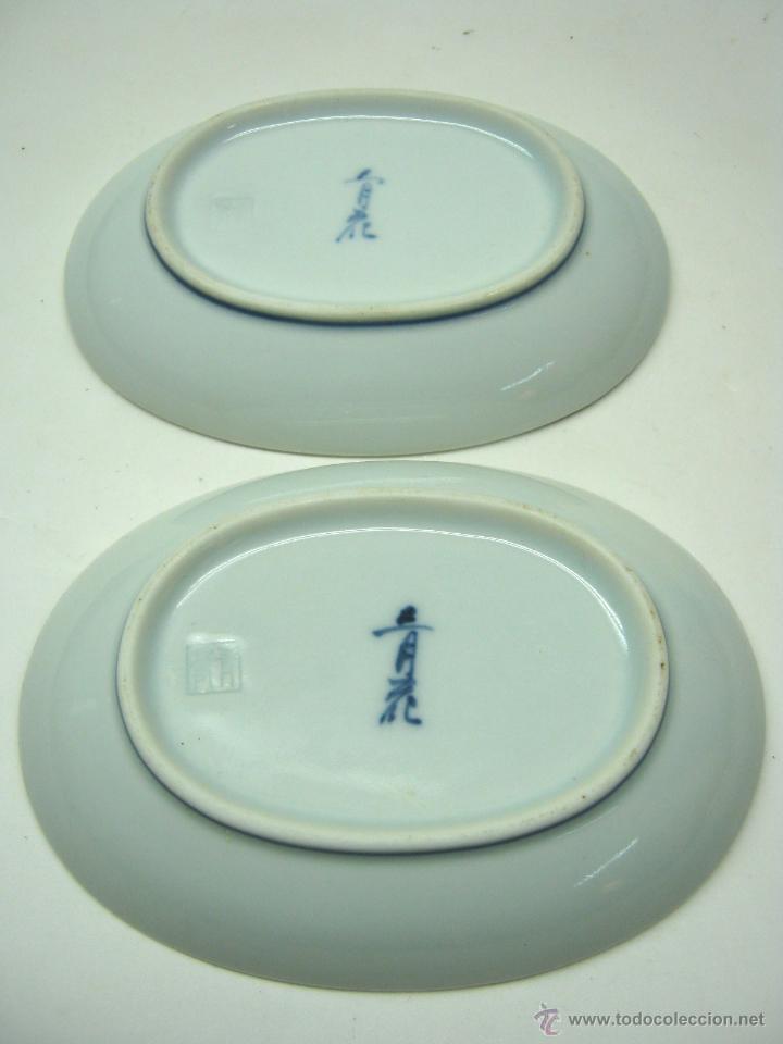 Antigüedades: Antigua Pareja de Bandejas porcelana Japón s. XIX - Foto 2 - 54000906