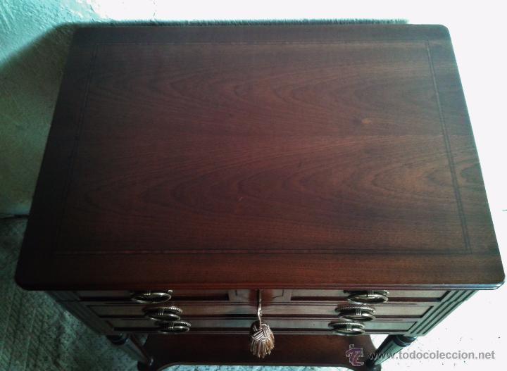 Antigüedades: Mueble auxiliar antiguo. Mueble joyero expositor antiguo. Cajonera secreter antigua estilo luis XVI - Foto 10 - 151485150