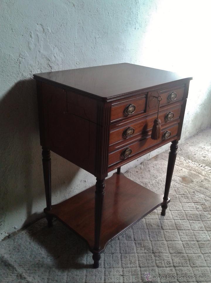 Antigüedades: Mueble auxiliar antiguo. Mueble joyero expositor antiguo. Cajonera secreter antigua estilo luis XVI - Foto 12 - 151485150