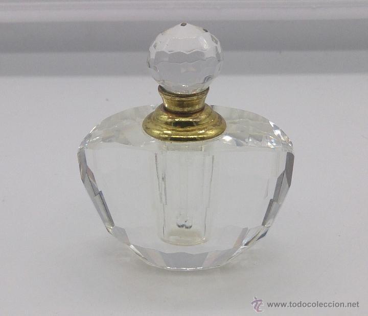 Antigüedades: Perfumero antiguo en cristal tallado Italiano estilo swarovski y bronce . - Foto 3 - 54017561