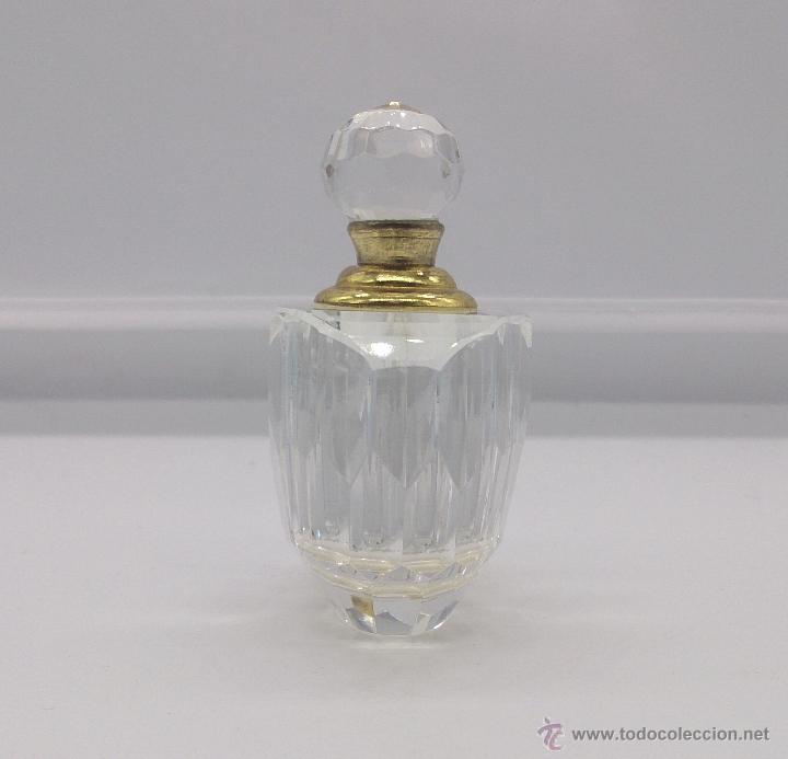 Antigüedades: Perfumero antiguo en cristal tallado Italiano estilo swarovski y bronce . - Foto 4 - 54017561
