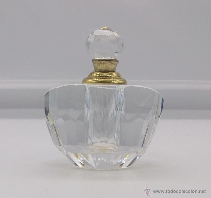 Antigüedades: Perfumero antiguo en cristal tallado Italiano estilo swarovski y bronce . - Foto 5 - 54017561