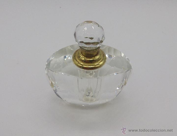Antigüedades: Perfumero antiguo en cristal tallado Italiano estilo swarovski y bronce . - Foto 6 - 54017561